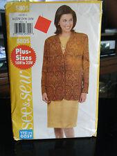 Butterick See & Sew 5805 Misses Lined Jacket & Dress Pattern - Size 22W/24W/26W