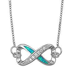 "Blue Opal & Cz Heart Shape Infinity .925 Sterling Silver Pendant Necklace 16""+2"""
