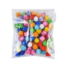 100x Mini Sparkly Glitter Tinsel Pompom Balls Small Pom Ball Pet Cat Toy Dia.1cm