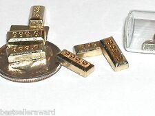 2pc miniature dollhouse tiny little faux Gold bars golden money floating 10mm