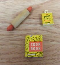 Vintage Doll House / Miniature Kitchen Cook Book, Rolling Pin & Domino Sugar Box