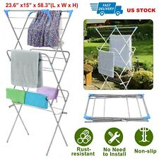Folding Clothes Drying Rack Laundry Stand Hanger Dryer Storage Rust-resistant