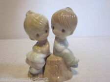 1993 Precious Moments Baby & Girl In Love On Tree Stump Salt & Pepper Shakers