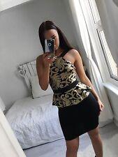 WOMEN'S CHARLOTTE GOLD SEQUIN PEPLUM DRESS SIZE 10