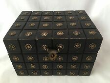 Vintage Arts & Crafts Wooden Jewellery Box With Brass Flowers Made In India