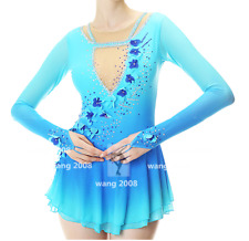 Competition Skating Wear Quick Dry Anatomic Design Handmade Classic Blue flowers