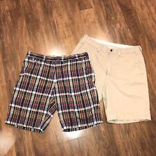 "Lot of 2 Mens 34 Tan Plaid POLO Ralph Lauren 9"" Inseam Khaki Chino Cotton SHORTS"