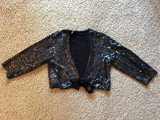 INC Black Sequin Shrug Top Blouse NWOT L LARGE