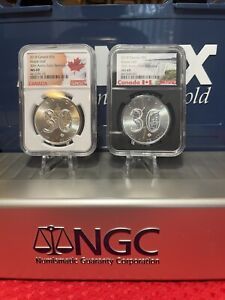 2 OZ 2018 CANADA SILVER MAPLE LEAF 30TH ANNIVERSARY NGC MS 69 S$5 9999 SILVER