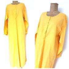 Vintage 80's Tunic Linen Dress Size Large Yellow Half Button Midi Casual Kenar