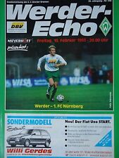 Programm 1992/93 SV Werder Bremen - FC Nürnberg
