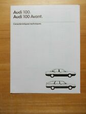 AUDI 100 - 100 AVANT CARACTERISTIQUES TECHNIQUES ET EQUIPEMENTS 1987
