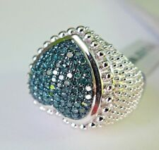 0.50Ct Genuine Blue Diamonds 925 Sterling Silver Ring, Size 6, Certificate