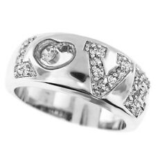 Ladies Crystal Stones Love Silver Rhodium Plated Ring Size 10