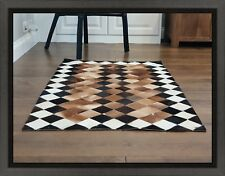 Handmade Cowhide Patchwork Rug, Hair-On animal skin Carpet - Rare & unique