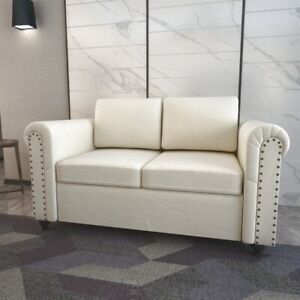 New Modern Loveseat Fabric Sofa Bed With Classic Wooden Leg  Living Room Home
