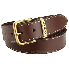 "Carhartt Leather Jean Belt Men's 1-1/2"" Saddle Stitching Logo Buckle Brown Black"