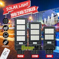100000LM Solar Street Light LED IP67 Dusk-Dawn PIR Sensor Road Lamp+Pole+Remote