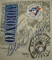 Vintage Toronto Blue Jays T Shirt Retro 90s Mens L Large 1990 MLB Gray