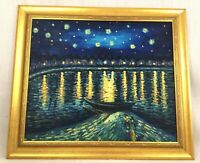 Original Framed Oil Painting Van Gogh Impressionist Starry Night Over the Rhone