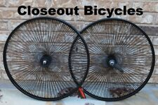 "26"" Wheel Set Black Coaster Lowrider 144 Spoke Bicycle Cruiser Chopper Bike"