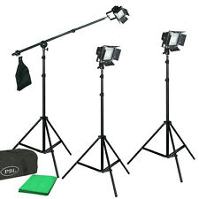 LED Light Kit Chromakey Backdrop 250Watt Barndoors Boom Photography Photo Video