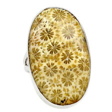 Indonesian Fossil Coral 925 Sterling Silver Ring Jewelry s.6.5 25769R