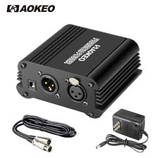 Aokeo 1-Channel 48V Phantom Power Supply with Adapter, BONUS+XLR 3 Pin Cable
