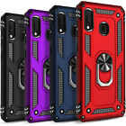 For Samsung Galaxy A20 A50 Case, Ring Kickstand Cover + Tempered Glass Protector