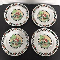 "4 Mary Engelbreit HOME SWEET HOME 8"" Salad Plates Sakura Checker RETIRED"