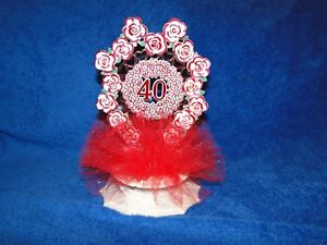 New 40th Wedding Anniversary  Caketopper with red tulle and decor