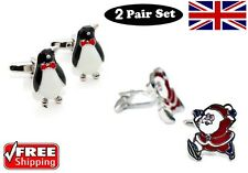 Cool Men's Christmas 2 Pair Set Santa Claus & Penguin Cufflinks Novelty Design