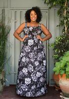 Plus Size Maxi Dress 2X Empire Sleeveless Polyester Blend SWAK Black White