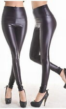 LADIES BLACK FAUX LEATHER LEGGINGS WET PVC LOOK HIGH WAISTED SIZE 8 10 12