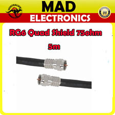 5m High Quality RG6 Quad Shield Cable Lead with Crimped F type Connectors