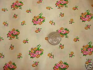 Vintage Cotton Blend Fabric PINK FLORAL BOUQUET/WHITE 1 Yd