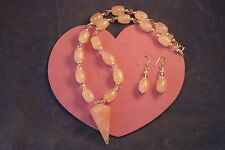"""Beautiful  Necklace With Rose Quartz And Crystal16"""" Inches.Long Silver Clasps"""