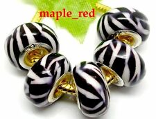 20pcs / Lot Fashion Zebra-stripe Resin Beads Fit European Charms Bracelets