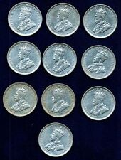 AUSTRALIA GEORGE V 1916-M 1 SHILLING SILVER COINS, VF/XF, GROUP LOT OF (10)