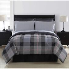 Colormate York Plaid 8 Pc Bed in a Bag ~ King 102 x 90 ~ Red Gray Black **NEW**