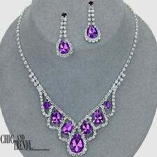 CLASSIC STYLE PURPLE & CLEAR CRYSTAL PROM WEDDING FORMAL NECKLACE JEWELRY SET
