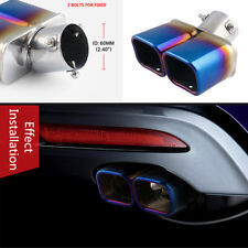 "2.5"" Stainless Steel Car Exhaust pipe Square Export Chorme Grilled blue tip Pipe"
