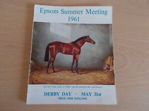 The 1961 Epsom Summer MeetingRace Card Programme  For DERBY DAY !