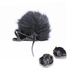 Black Fur Windscreen Windshield Wind Muff for Lapel Lavalier Microphone Mic AUE