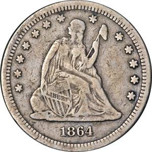 1864-P Seated Liberty Quarter Civil War Date Nice F Details Key Date Nice Strike