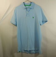 American Eagle Mens Short Sleeve Polo Golf Shirt Blue Classic Fit Size MEDIUM M