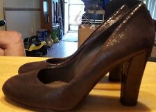 "Stuart Weitzman heels round toe snake skin design brown size 7 1/2-M 3 3/4"" heel"