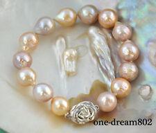 "Rare 8"" 12mm pink lavender almost round Edison Reborn pearl bracelet"
