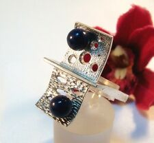 Moderner Lapislazuli Ring 925 Silber Lapis Fingerring / be 421