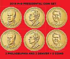 2016 P & D Complete 6 Coin Presidential Dollar Set